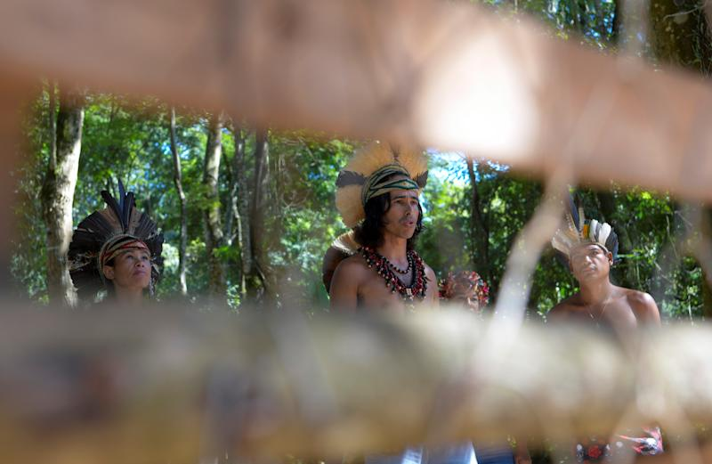 Indigenous people from Pataxo ethnic group are seen inside the village Nao Xoha, amid the coronavirus disease (COVID-19) outbreak, in Sao Joaquim de Bicas, Minas Gerais state, Brazil, March 25, 2020. REUTERS/Washington Alves