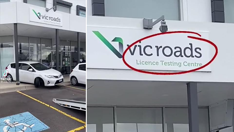 People on social media were very impressed with the spectacular parking fail seen outside a VicRoads License Testing Centre. Source: Facebook
