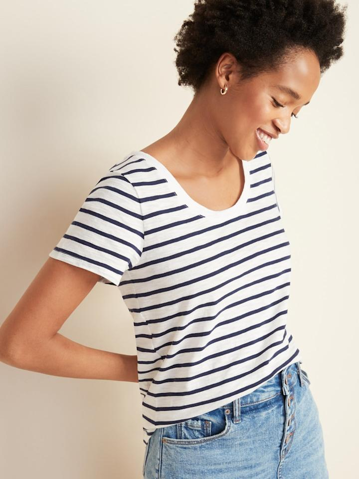 """<p><a href=""""https://www.popsugar.com/buy/EveryWear-Striped-Slub-Knit-Tee-571478?p_name=EveryWear%20Striped%20Slub-Knit%20Tee&retailer=oldnavy.gap.com&pid=571478&price=14&evar1=fab%3Aus&evar9=47448870&evar98=https%3A%2F%2Fwww.popsugar.com%2Ffashion%2Fphoto-gallery%2F47448870%2Fimage%2F47448889%2FEveryWear-Striped-Slub-Knit-Tee&list1=shopping%2Ct-shirts%2Cold%20navy%2Ceditors%20pick%2Ctops%2Cproduct%20reviews%2Caffordable%20shopping%2Ccheap%20obsessions&prop13=mobile&pdata=1"""" rel=""""nofollow"""" data-shoppable-link=""""1"""" target=""""_blank"""" class=""""ga-track"""" data-ga-category=""""Related"""" data-ga-label=""""https://oldnavy.gap.com/browse/product.do?pid=583254#pdp-page-content"""" data-ga-action=""""In-Line Links"""">EveryWear Striped Slub-Knit Tee</a> ($14, originally $15)</p>"""