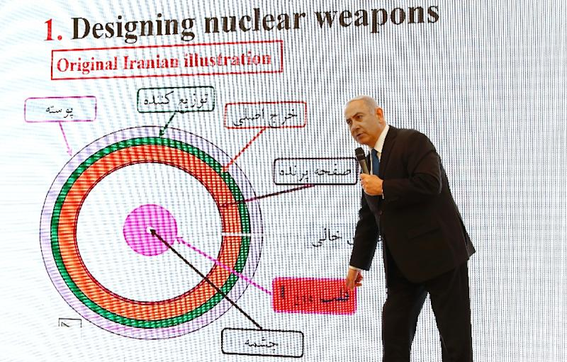 Israeli Prime Minister Benjamin Netanyahu delivers a speech on Iran's nuclear program at the defence ministry in Tel Aviv on April 30, 2018