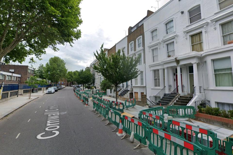 <p>Corwnal Crescent where police were called to reports of gunfire</p> (Google Street View)