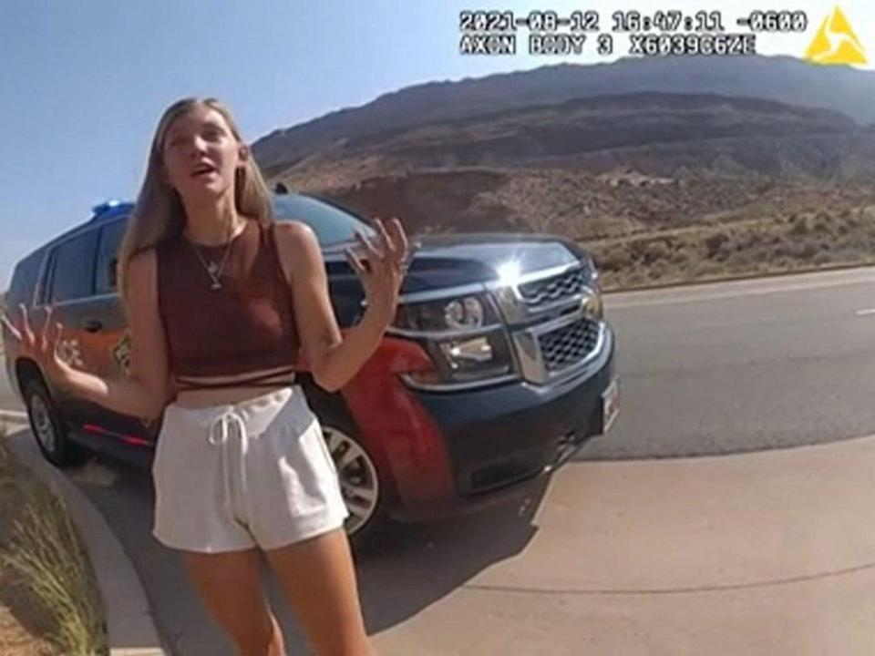 Gabby Petito speaks with police responding to an altercation between her and her boyfriend in Utah (Moab City Police Department/AFP)