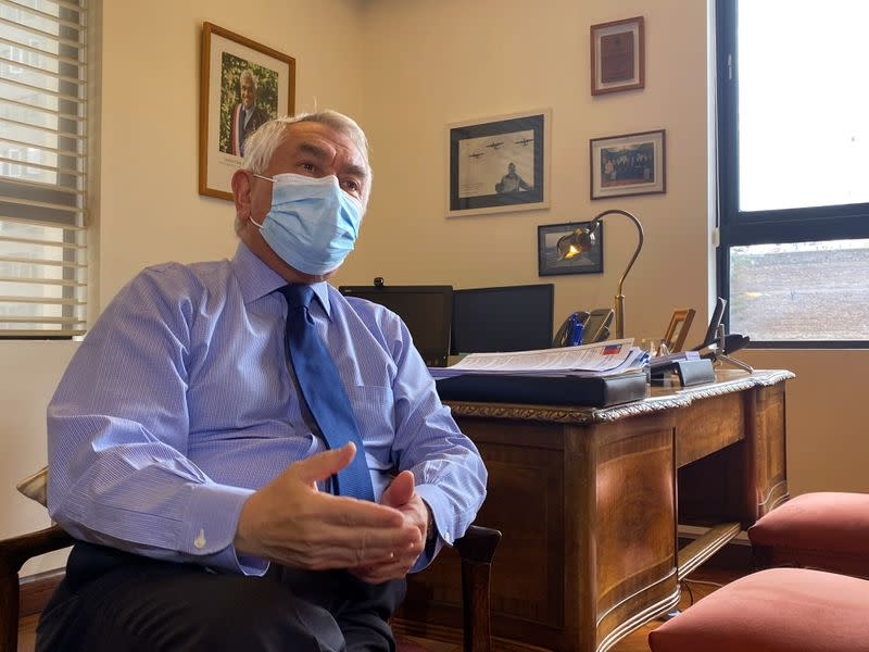 Chilean Health Minister Paris speaks during a Reuters interview, as the outbreak of coronavirus disease (COVID-19) continues in Santiago