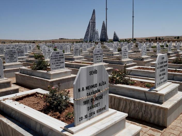 "<span class=""caption"">A cemetery in Kobanî for members of the Syrian Democratic Forces, who fought to remove IS from northern Syria.</span> <span class=""attribution""><span class=""source"">Elise Marie Boyle Espinosa</span>, <span class=""license"">Author provided</span></span>"