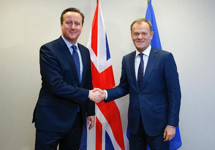 Britain's Prime Minister David Cameron (left) shakes hands with European Council President Donald Tusk ahead of an EU summit in Brussels, on February 18, 2016 (AFP Photo/Yves Herman)