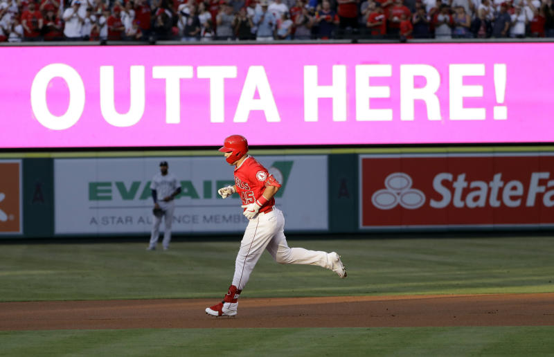 Mike Trout and the Angels batted around in memorable first inning after paying tribute to Tyler Skaggs. (AP Photo/Marcio Jose Sanchez)
