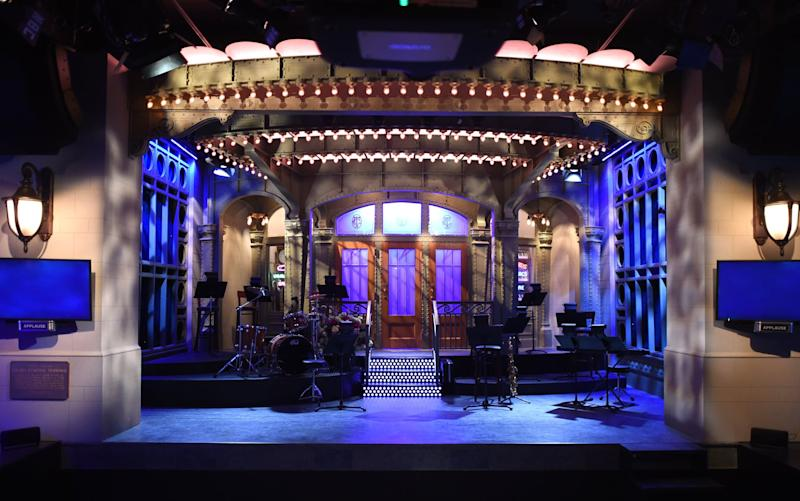 The SNL stage on display during a media preview on May 29, 2015 at the Saturday Night Live: The Exhibition, celebrating the NBC programs 40-year history. The exhibit, which opens May 30, will illustrate a week in the life of SNL's offices and studios in 30 Rockefeller Center - complete with original scripts, set pieces, props, costumes, masks and interactive elements from the show's 40 years since debuting in October 1975. AFP PHOTO / TIMOTHY A. CLARY (Photo credit should read TIMOTHY A. CLARY/AFP via Getty Images)