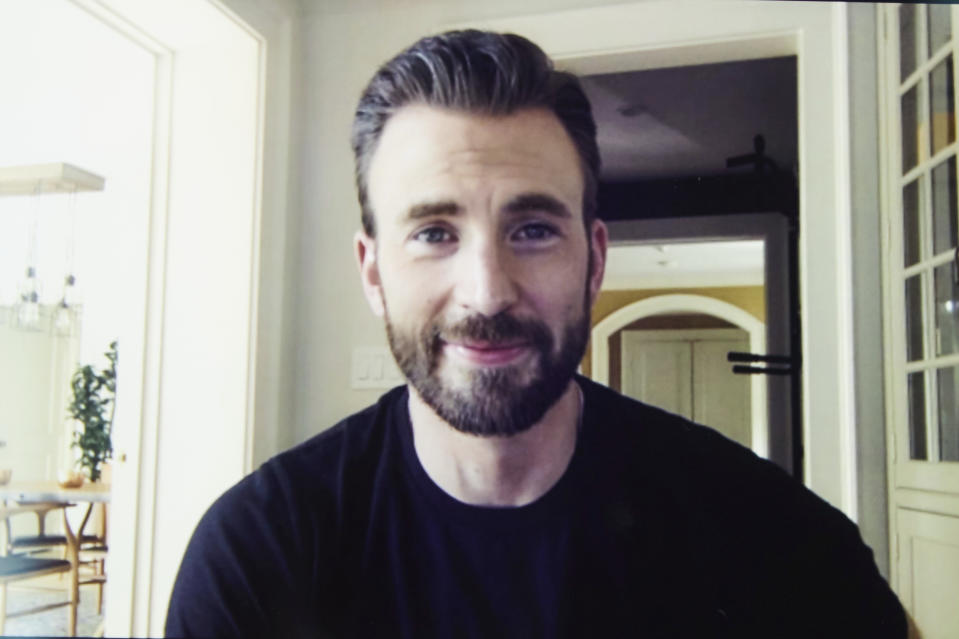 """In this July 30, 2020 photo, Chris Evans, co-founder of the civic engagement video-based app """"A Starting Point"""" with Mark Kassen, is photographed during a remote portrait session with photographer in Los Angeles and subject in Boston, Mass. (Photo by Matt Sayles/Invision/AP)"""