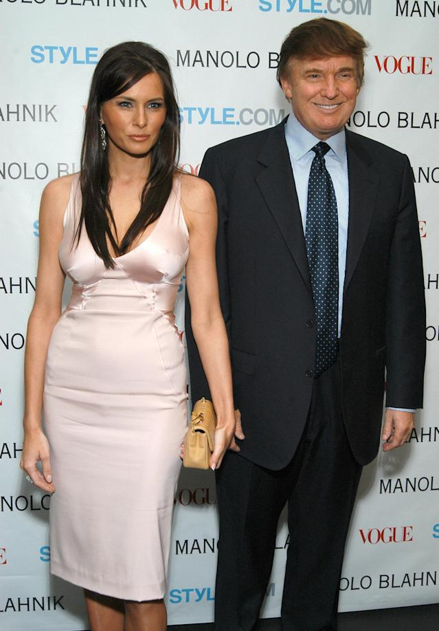Donald and Melania Trump at a launch party for a Manolo Blahnik exhibition in 2003.   (Dimitrios Kambouris via Getty Images)