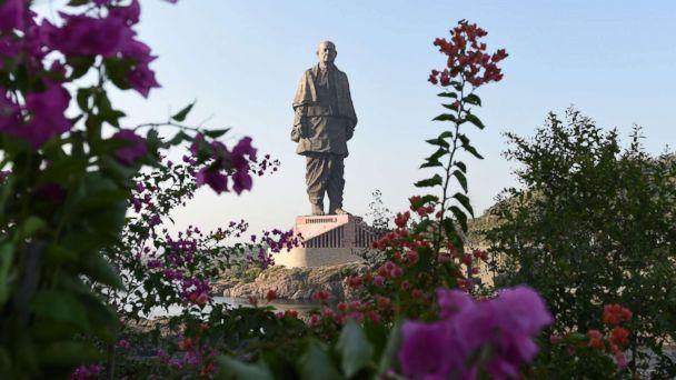 PHOTO: The 'Statue Of Unity', the world's tallest statue dedicated to Indian independence leader Sardar Vallabhbhai Patel, stands overlooking the Sardar Sarovar Dam near Vadodara in India's western Gujarat state, Oct. 30, 2018. (Sam Panthaky/AFP/Getty Images)