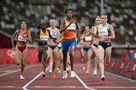 Sifan Hassan (C) will be looking to complete the second leg of an unprecedented Olympic treble in the 1500m