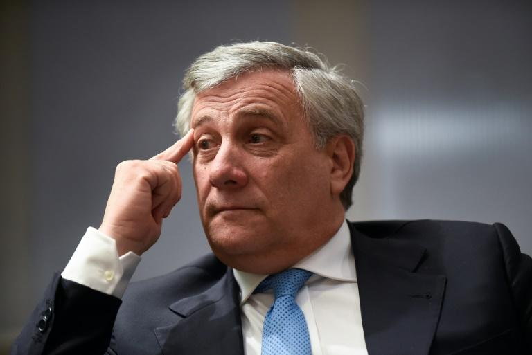 President of the EU Parliament Antonio Tajani speaking to AFP on March 22, 2017 in Brussels