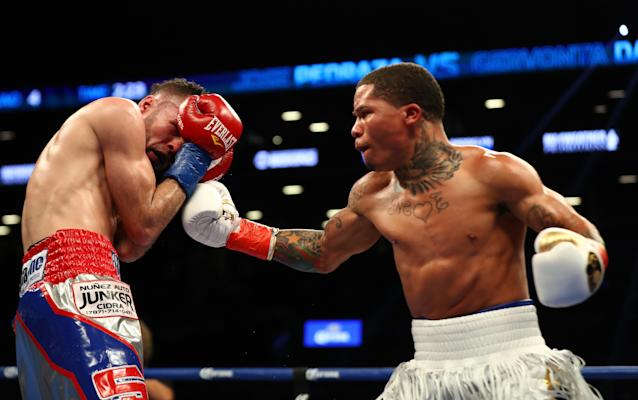 Gervonta Davis punches Jose Pedraza during their IBF Junior Lightweight Championship at the Barclays Center on January 14, 2017 in New York City. (Photo by Al Bello/Getty Images)