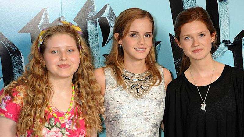 (L-R) Jessie Cave, Emma Watson and Bonnie Wright pose during the photocall of 'Harry Potter and the Half-Blood Prince', at Claridge's Hotel on July 6, 2009 in London, England.