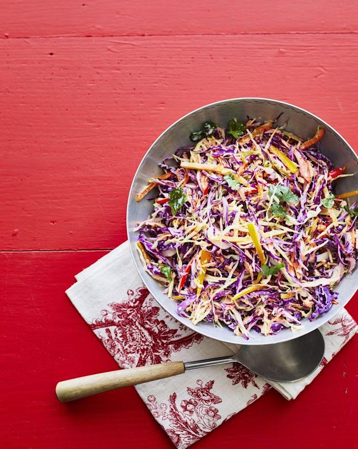 """<p>Brighten up your Fourth of July sides with this colorful slaw. It's packed with a rainbow of colors—from purple and green cabbage to orange carrots to multi-color peppers. </p><p><a href=""""https://www.thepioneerwoman.com/food-cooking/recipes/a32337015/colorful-coleslaw-recipe/"""" rel=""""nofollow noopener"""" target=""""_blank"""" data-ylk=""""slk:Get Ree's recipe."""" class=""""link rapid-noclick-resp""""><strong>Get Ree's recipe. </strong></a></p><p><a class=""""link rapid-noclick-resp"""" href=""""https://go.redirectingat.com?id=74968X1596630&url=https%3A%2F%2Fwww.walmart.com%2Fsearch%2F%3Fquery%3Dpioneer%2Bwoman%2Bmixing%2Bbowls&sref=https%3A%2F%2Fwww.thepioneerwoman.com%2Ffood-cooking%2Fmeals-menus%2Fg36353420%2Ffourth-of-july-side-dishes%2F"""" rel=""""nofollow noopener"""" target=""""_blank"""" data-ylk=""""slk:SHOP MIXING BOWLS"""">SHOP MIXING BOWLS</a></p>"""