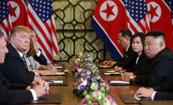 PHOTO: North Korea's leader Kim Jong Un and President Donald Trump look on during the extended bilateral meeting in the Metropole hotel during the second North Korea-U.S. summit in Hanoi, Vietnam, Feb. 28, 2019.  (Leah Millis/Reuters)