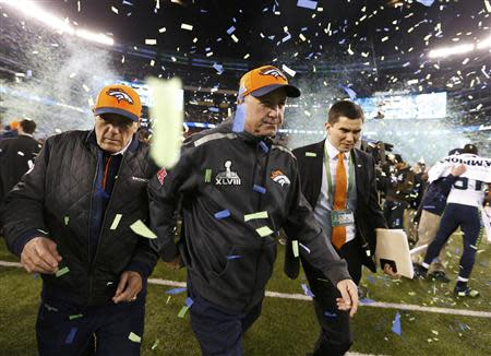 Denver Broncos head coach Fox leaves the field after the Broncos werer defeated by the Seattle Seahawks in the NFL Super Bowl XLVIII in East Rutherford
