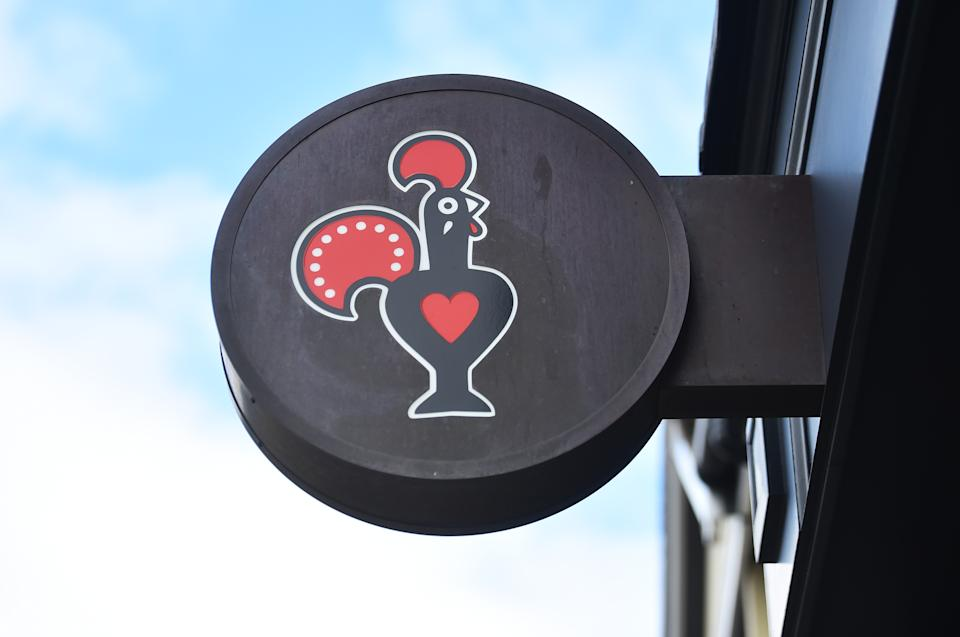 WORCESTER-ENGLAND - MARCH 27: The Nando's logo is seen outside one of its restaurants in Worcester Town Center on March 27, 2021 in Worcester, England . (Photo by Nathan Stirk/Getty Images)