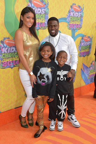 From left, Torrei Hart, Kevin Hart, Heaven Hart and Hendrix Hart arrive at the 27th annual Kids' Choice Awards at the Galen Center on Saturday, March 29, 2014, in Los Angeles. (Photo by John Shearer/Invision/AP)