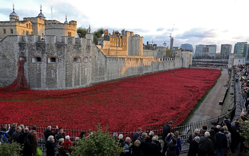 Ceramic poppies which formed part of the art installation 'Blood Swept Lands and Seas of Red' by artist Paul Cummins at the Tower of London (PA Archive/PA Images)