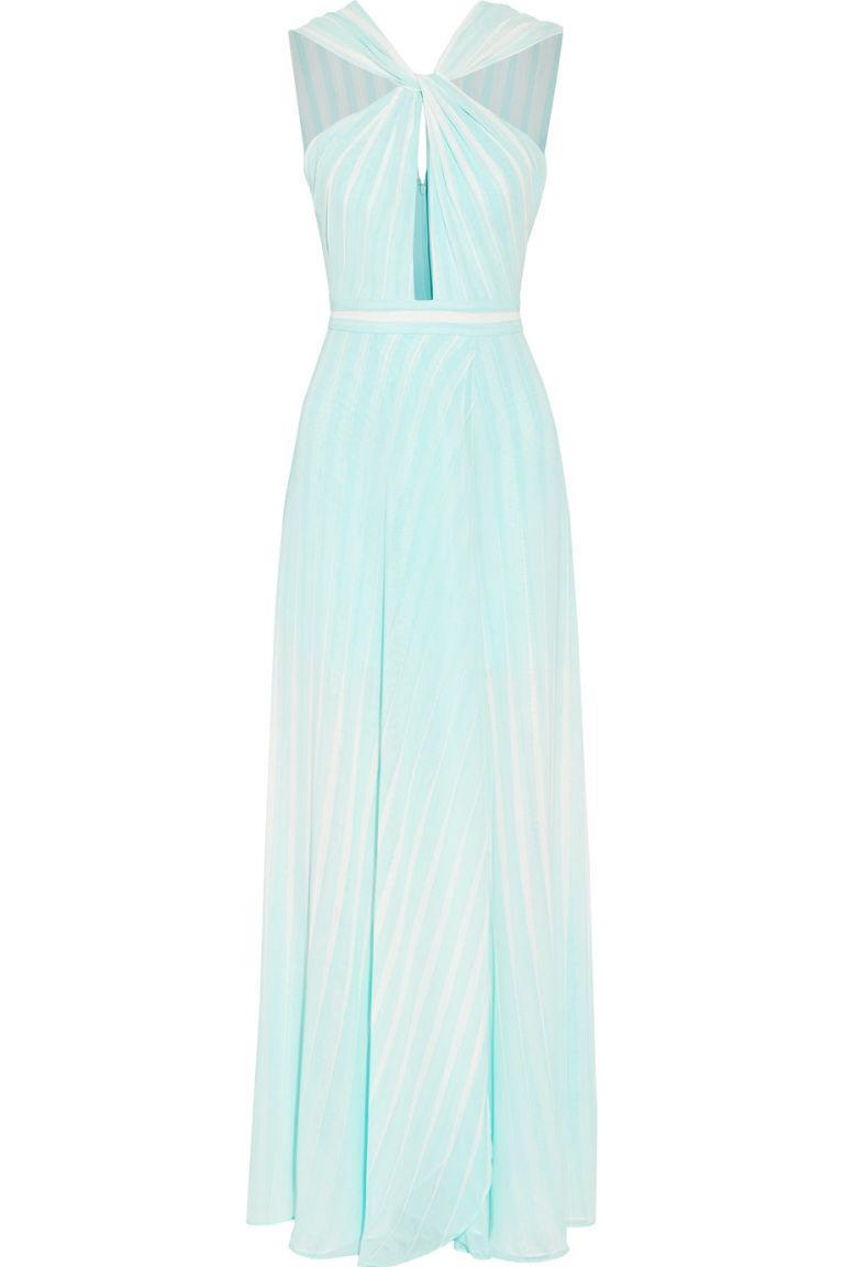 "<p><em>Twisted Striped Chiffon Gown, HALSTON HERITAGE (Available at The Outnet), $245</em></p><p><a href=""https://www.theoutnet.com/en-US/Shop/Product/Halston-Heritage/Twisted-striped-chiffon-gown/949698"" rel=""nofollow noopener"" target=""_blank"" data-ylk=""slk:BUY NOW"" class=""link rapid-noclick-resp"">BUY NOW</a></p>"
