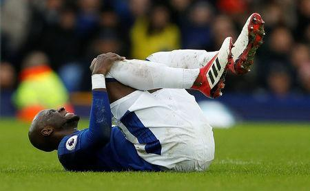 Soccer Football - Premier League - Everton vs Crystal Palace - Goodison Park, Liverpool, Britain - February 10, 2018 Everton's Eliaquim Mangala lies injured Action Images via Reuters/Lee Smith/File Photo