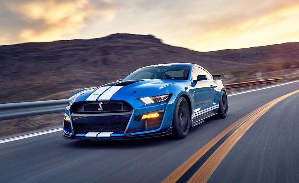 """<p>Finally, a sort-of affordable fuel burner. The <a href=""""https://www.caranddriver.com/ford/mustang-shelby-gt500"""" rel=""""nofollow noopener"""" target=""""_blank"""" data-ylk=""""slk:Ford Mustang Shelby GT500"""" class=""""link rapid-noclick-resp"""">Ford Mustang Shelby GT500</a> starts at $73,095, which isn't terrible for what Ford calls the """"most powerful and fastest Mustang of all time."""" That means going from zero-to-60 mph in 3.4 seconds thanks to a total of 760 horsepower and 625 lb-ft of torque. Don't worry, you can still spend $18,500 on the <a href=""""https://www.caranddriver.com/reviews/a30173251/ford-mustang-shelby-gt500-acceleration-testing/"""" rel=""""nofollow noopener"""" target=""""_blank"""" data-ylk=""""slk:Carbon Fiber Track package"""" class=""""link rapid-noclick-resp"""">Carbon Fiber Track package</a>, $10,000 for painted racing stripes and other features to tip the price into the six-figure range, but you can't improve upon the measly 14 mpg. That cobra logo is going to cost you, one way or the other.</p><ul><li>Base price: $74,095</li><li>Engine: 760-hp supercharged 5.2-liter V-8 engine, seven-speed dual-clutch automatic transmission</li><li>EPA Fuel Economy combined/city/highway: 14/12/18 mpg</li></ul><p><a class=""""link rapid-noclick-resp"""" href=""""https://www.caranddriver.com/ford/mustang-shelby-gt500/specs"""" rel=""""nofollow noopener"""" target=""""_blank"""" data-ylk=""""slk:MORE MUSTANG SHELBY GT500 SPECS"""">MORE MUSTANG SHELBY GT500 SPECS</a></p>"""