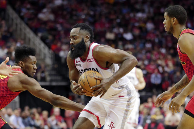 In just 30 minutes on Saturday night, James Harden dropped 60 points to lead Houston past Atlanta in dominant fashion. (AP/Michael Wyke)