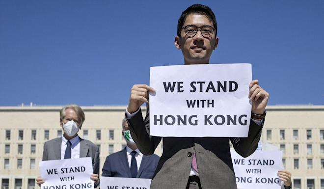 Hong Kong student activist Nathan Law protests in Rome ahead of Chinese Foreign Minister Wang Yi's meeting with his Italian counterpart. Photo: EPA-EFE