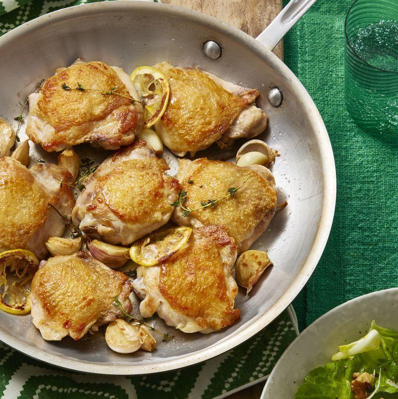 """<p>It may be hard to believe, but this savory and flavorful crispy chicken is <em>also </em>gluten-free.</p><p><u><em><a href=""""https://www.womansday.com/food-recipes/food-drinks/recipes/a60708/crispy-chicken-thighs-with-escarole-and-parmesan-salad-recipe/"""" rel=""""nofollow noopener"""" target=""""_blank"""" data-ylk=""""slk:Get the recipe for Crispy Chicken Thighs with Escarole Salad."""" class=""""link rapid-noclick-resp"""">Get the recipe for Crispy Chicken Thighs with Escarole Salad.</a></em></u></p>"""