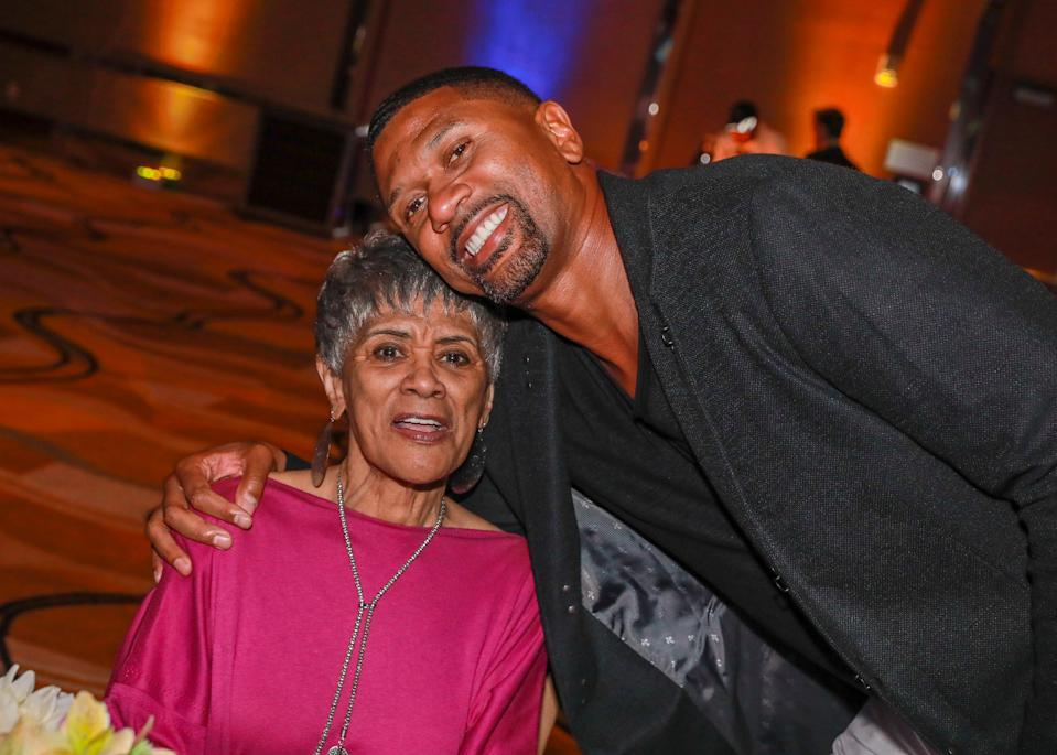 DETROIT, MI - AUGUST 26: Jeanne Rose mother of American professional basketball player, current sports analyst for ESPN, and cofounder of the Jalen Rose Leadership Academy Jalen Rose (R) attend the Jalen Rose Leadership Academy Red Carpet & Gala presented by MGM Grand Detroit  at MGM Detroit Grand Ballroom on August 26, 2018 in Detroit, Michigan.  (Photo by Scott Legato/Getty Images for Jalen Rose Leadership Academy (PGD Global Event))