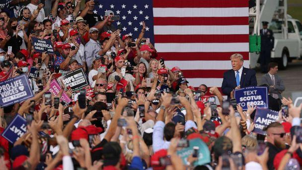 PHOTO: In this Sept. 24, 2020, file photo, President Donald Trump arrives on stage during his, 'The Great American Comeback Rally', at Cecil Airport on Sept. 24, 2020, in Jacksonville, Fla. (Joe Raedle/Getty Images, FILE)