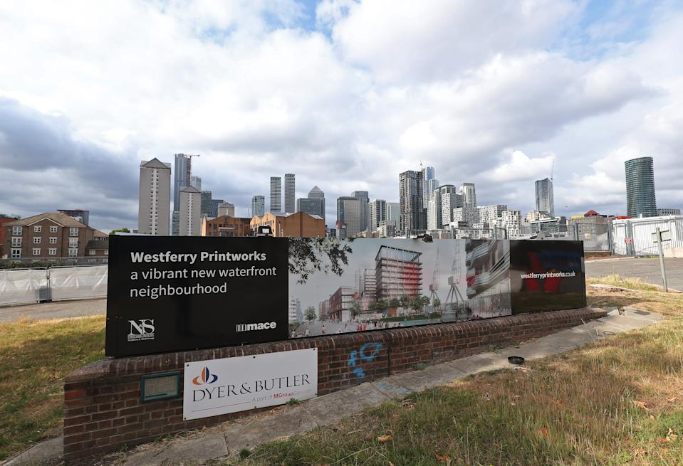 A view of the Westferry Printworks site on the Isle of Dogs, east London. The �1 billion Westferry Printworks redevelopment scheme in east London was controversially approved in January by Housing Secretary Robert Jenrick, against the recommendation of a planning inspector. The decision has since been reversed after legal action by Tower Hamlets Council, which had voiced concerns over the size of the development when the plans were first submitted in 2018.