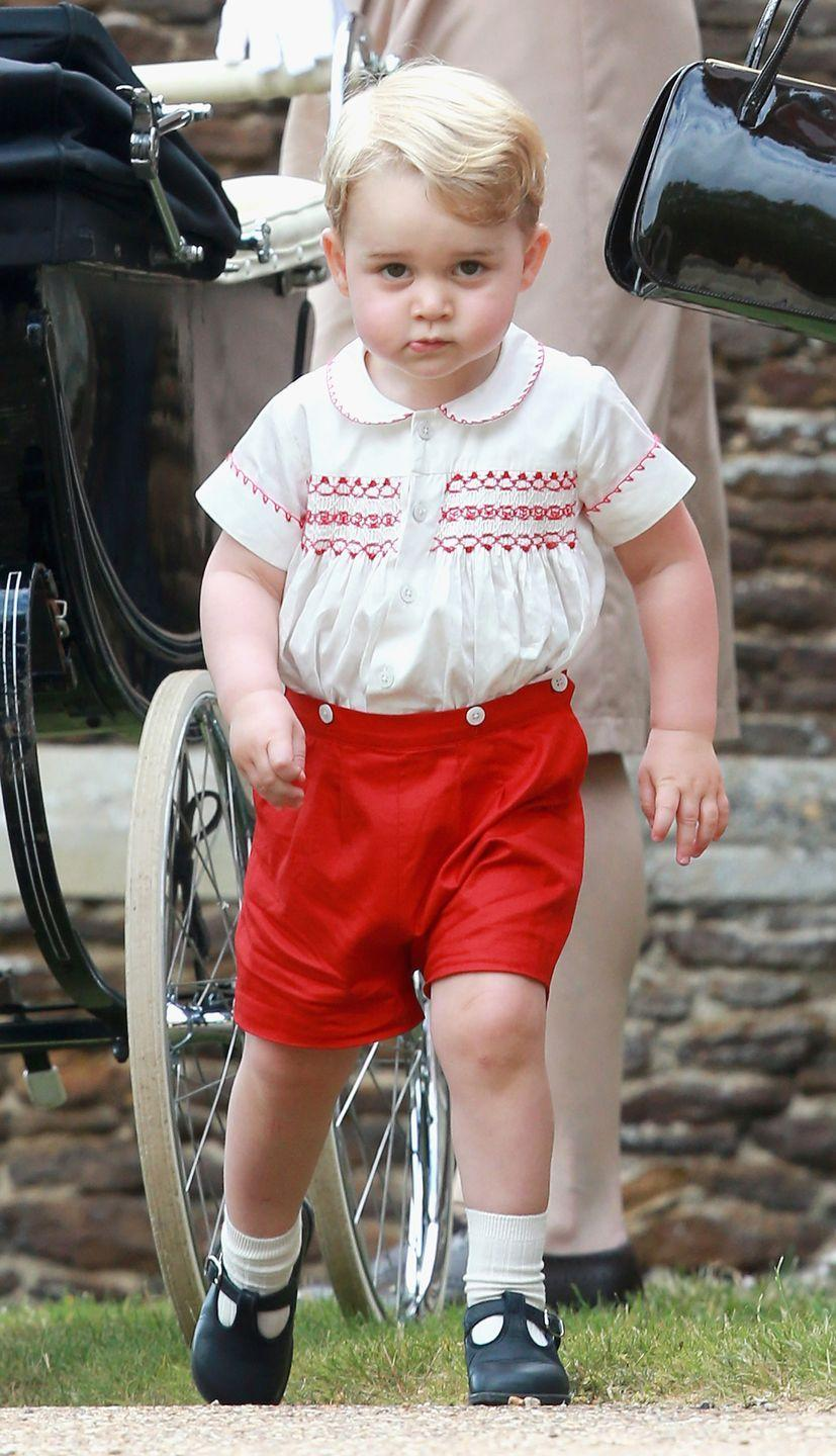 <p>Prince George leaves the Church of St Mary Magdalene after the Christening of Princess Charlotte in King's Lynn, England.</p>