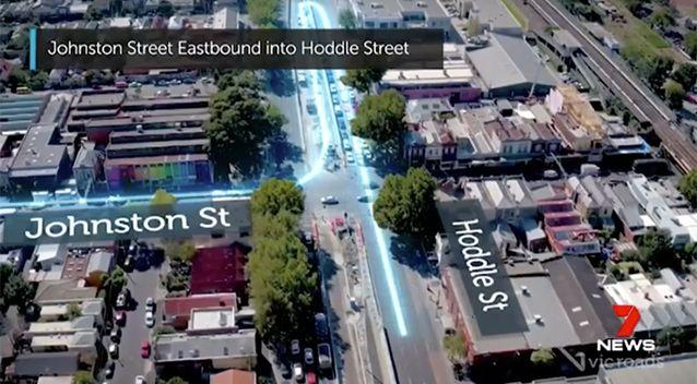 The proposed P-turns for Johnson and Hoddle streets. Source: 7 News