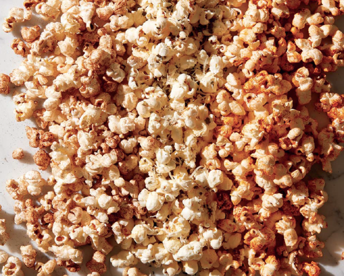 "<p>Corn comes from a plant. When that corn is popped it is still plant-based.</p><p>You could buy pre-popped popcorn (an option to come), but you can also pop your own, which is incredibly delicious and also way easier than you think. This recipe from the <em>Men's Health</em> cookbook <em><a href=""https://www.amazon.com/Man-Pan-Plan-Delicious-Nutritious/dp/1635650046"" target=""_blank"">A Man, A Pan, A Plan</a></em> shows you how.</p><p>In a large nonstick pan, add 2 Tbsp canola oil and 2 popcorn kernels. Cover the pan with a lid and heat over medium. When the kernels pop, add ⅓ cup of popcorn kernels. Heat, covered, shaking the pan occasionally, until all the kernels are popped, 3 to 5 minutes. </p><p>Transfer the popcorn to a large bowl and shake on whatever seasonings you'd like to add while tossing. Feeds 6, as a snack.</p>"