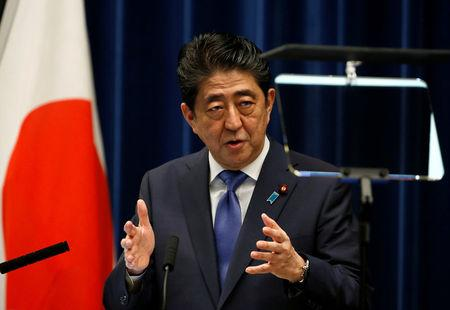 Japan's Prime Minister Shinzo Abe attends a news conference to announce snap election at his official residence in Tokyo