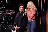 """<p>Phylicia Rashad and Kristin Chenoweth take the stage during the """"Broadway Is Back"""" segment of <i>The Tonight Show Starring Jimmy Fallon</i> on June 8 in N.Y.C. </p>"""