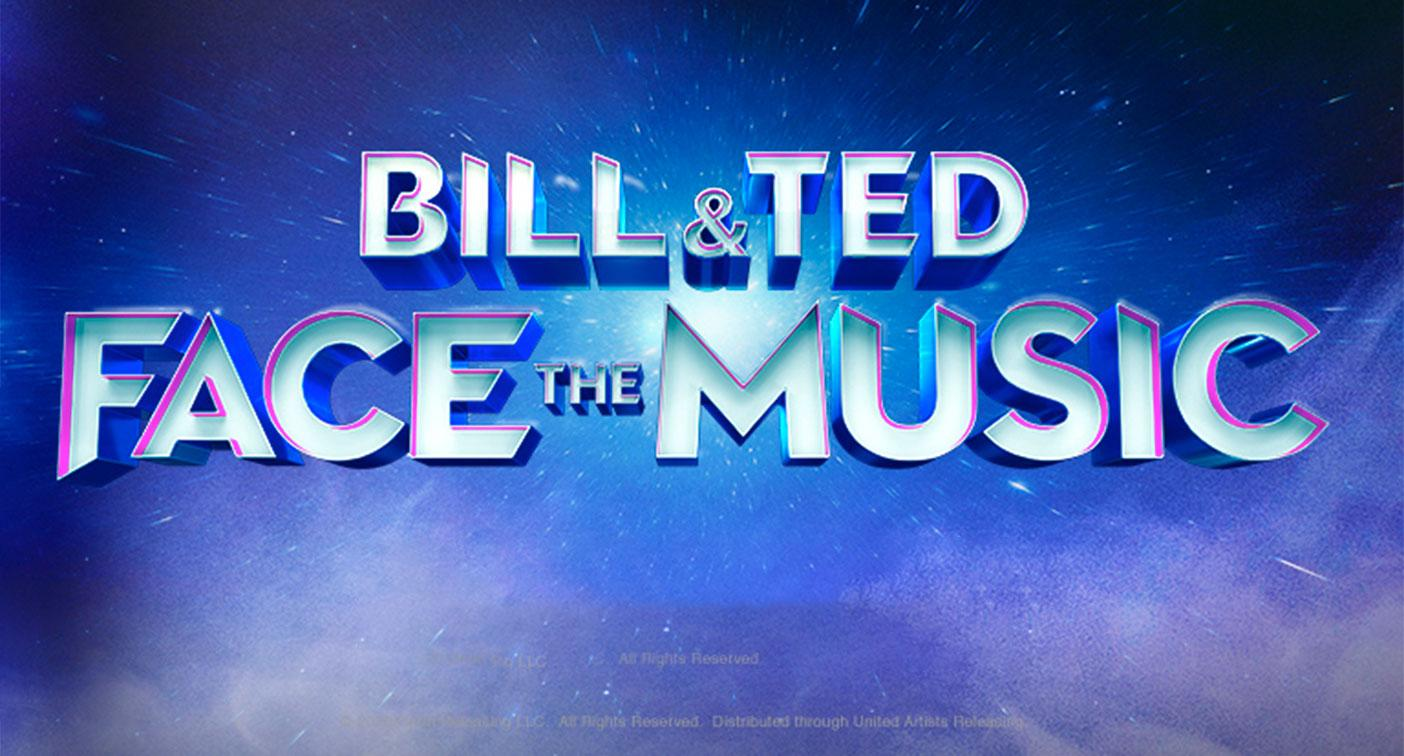 The title treatment for Bill and Ted Face The Music. (WB)