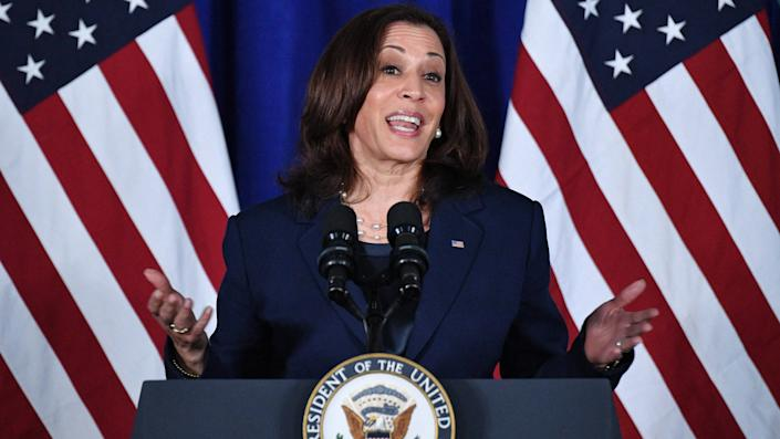 US Vice President Kamala Harris speaks on voting rights at the Louis Stokes Library of Howard University in Washington, DC on July 8, 2021. (Mandel Ngan/AFP via Getty Images)
