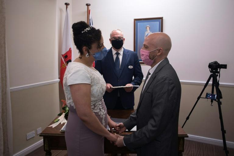 Brazilians Natalia Senna Alves de Lima and Bruno Miani tied the knot in Gibraltar after the paperwork in Ireland where they live became too difficult