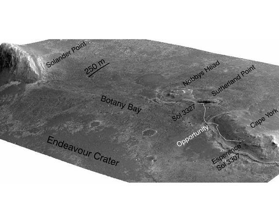"A stereo pair of images from taken from Mars orbit were used to generate a digital elevation model that is the basis for this simulated perspective view of ""Cape York,"" ""Botany Bay,"" and ""Solander Point"" on the western rim of Endeavour Crater."