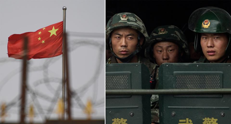 The Chinese flag behind razor wire at a housing compound in the Xinjiang region (left) and Chinese troops on the back of a truck as they patrol in the region (right). Source: Getty