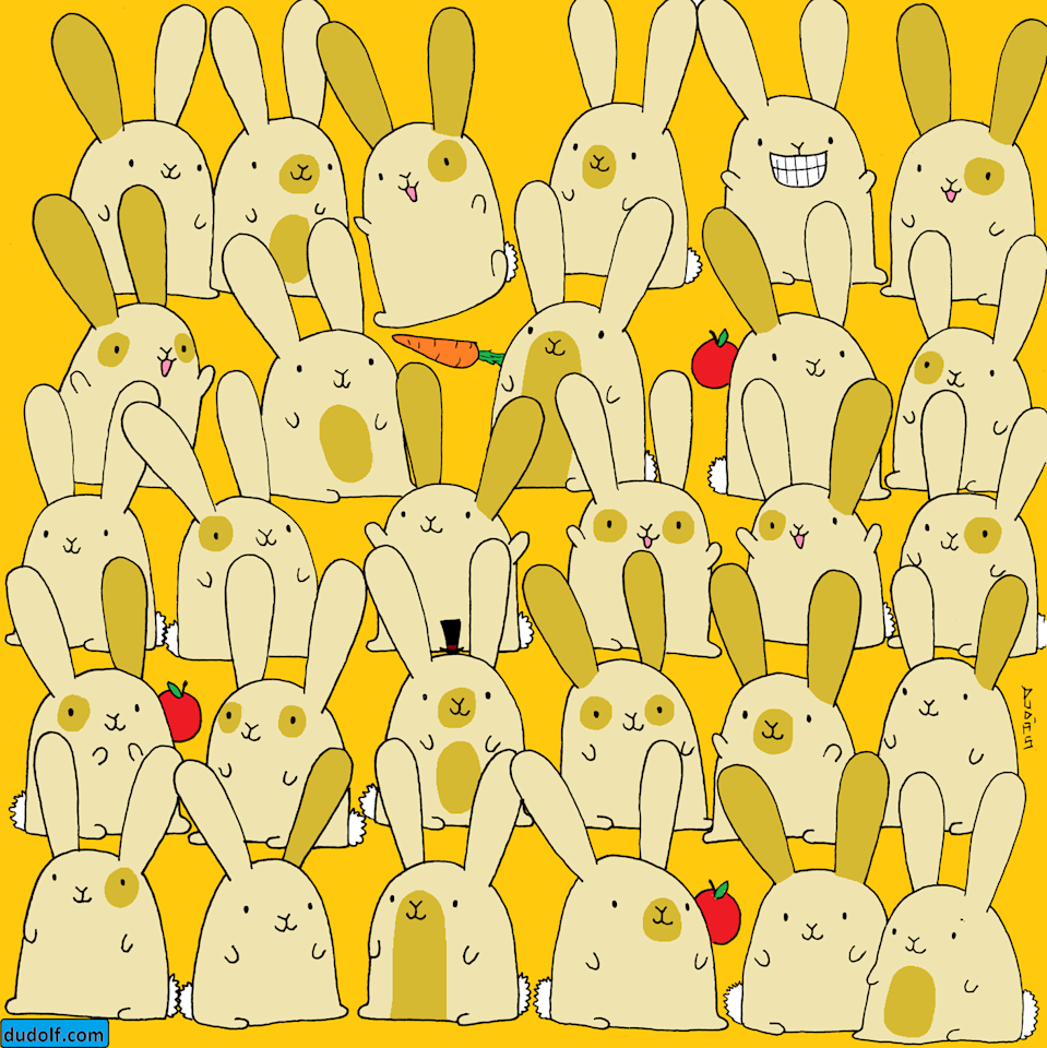 """<p>Artist Gergerly Dudas creates visually beautiful and challenging brain teasers that trick your mind into hiding patterns. In this whimsical drawing, each of the bunnies has a pair, except for one. Can you <a href=""""https://thedudolf.blogspot.com/2019/11/which-bunny-has-no-pair-which-bunny-has.html"""" rel=""""nofollow noopener"""" target=""""_blank"""" data-ylk=""""slk:find it"""" class=""""link rapid-noclick-resp"""">find it</a>? </p>"""