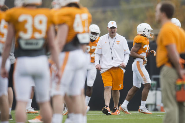First year Tennessee head coach Jeremy Pruitt has cut music from his practices. (Caitie McMekin/Knoxville News Sentinel via AP)