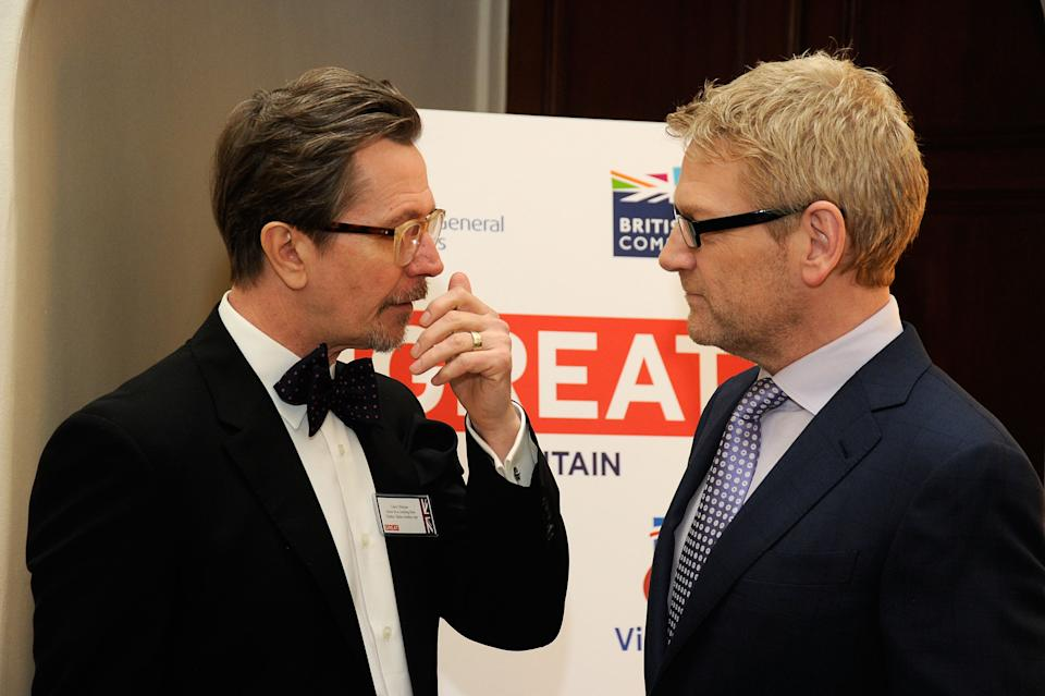 LOS ANGELES, CA - FEBRUARY 24: Actors Gary Oldman (L) and Kenneth Branagh at the GREAT British Film Reception to honor the British nominees of The 84th Annual Academy Awards at the British Consul General's Residence on February 24, 2012 in Los Angeles, California. (Photo by Frazer Harrison/Getty Images For British Consul General, Los Angeles)