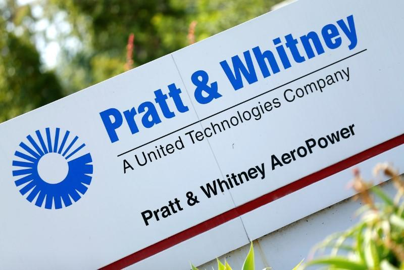 The logo of Dow Jones Industrial Average stock market index listed company United Technologies and their subsidiary Pratt & Whitney is pictured in San Diego, California