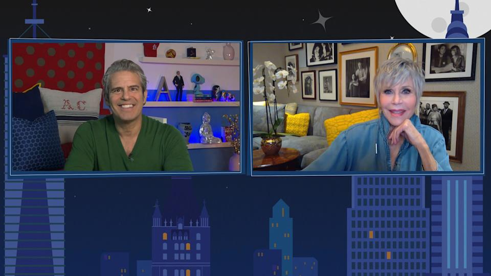 WATCH WHAT HAPPENS LIVE WITH ANDY COHEN @ HOME -- Episode 17146 -- Pictured in this screen grab: (l-r) Andy Cohen, Jane Fonda -- (Photo by: Bravo/NBCU Photo Bank via Getty Images)