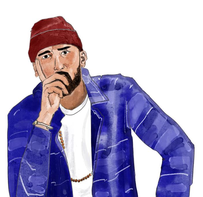Illustration of Salvin Chahal in a blue jacket and red beanie