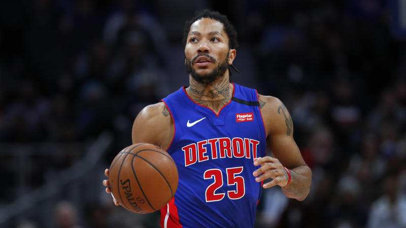 Detroit Pistons guard Derrick Rose plays against the Brooklyn Nets in the second half of an NBA basketball game in Detroit, Saturday, Jan. 25, 2020. (AP Photo/Paul Sancya)